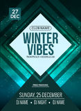 Dance party, dj battle poster design. Winter disco party. Music event flyer or banner illustration template Royalty Free Stock Photo