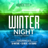 Dance party, dj battle poster design. Winter disco party. Music event flyer or banner illustration template.  Stock Photos