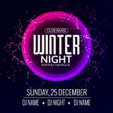 Dance party, dj battle poster design. Winter disco party. Music event flyer or banner illustration template Stock Photos