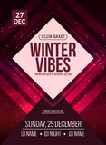 Dance party, dj battle poster design. Winter disco party. Music event flyer. Or banner illustration template Royalty Free Stock Photo