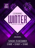 Dance party, dj battle poster design. Winter disco party. Music event flyer or banner illustration template Stock Images