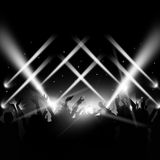 Dance Party Event. Music dance party background with dancing crowd Royalty Free Stock Photography