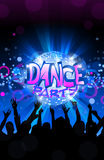 Dance party flyer, musical background, vector Royalty Free Stock Photos