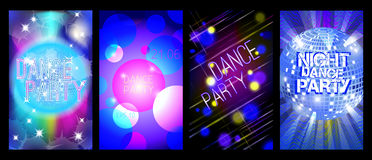 Dance party flyers set, musical backgrounds, vector Stock Images