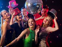 Dance party with group people dancing and disco ball. Stock Image