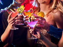 Dance party with group people dancing and disco ball. Stock Photos