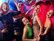 Dance party with group people dancing and disco ball. Royalty Free Stock Photography
