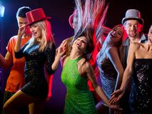 Dance party with group people dancing and disco ball. Stock Images