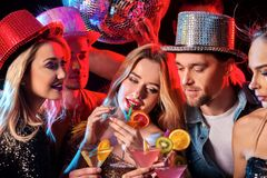 Dance party with group people dancing and disco ball. royalty free stock photos