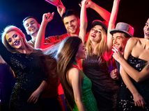 Dance party with group people dancing and disco ball. Royalty Free Stock Image