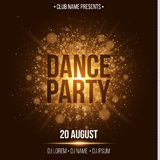 Dance party. Luxurious invitation card. Golden flash with gold dust. Night party. Enter your DJ and club name. Poster for your pro. Ject. Gold glare bokeh Royalty Free Stock Photo