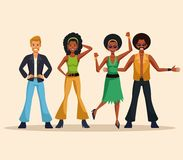 Dance party people. Dance party disco people cartoons vector illustration graphic design stock illustration
