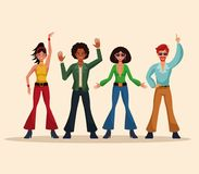 Dance party people. Dance party disco people cartoons vector illustration graphic design Stock Photography