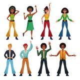 Dance party people. Dance party disco people cartoons vector illustration graphic design Stock Photos