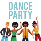 Dance party people. Dance party disco people cartoons vector illustration graphic design Stock Image