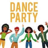 Dance party people. Dance party disco people cartoons vector illustration graphic design Stock Images