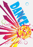 Dance party poster with arrows. Vector illustration stock illustration