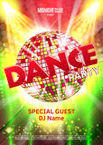 Dance Party Poster Background Template - Vector Illustration. Disco ball Royalty Free Stock Images