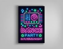 Dance party poster design template in neon style. Night party DJ neon sign, light banner, flyer bright nightlife. Advertisement, party invitation, nightclub Royalty Free Stock Images