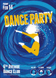 Dance party poster. Template with abstract blue swirl background Royalty Free Stock Photography