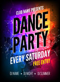Dance Party Poster Template. Night Dance Party flyer. Club party design template on dark colorful background. Club free. Entry royalty free illustration