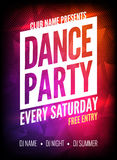 Dance Party Poster Template. Night Dance Party flyer.  Club party design template on dark colorful background. Club free Stock Photo