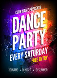 Dance Party Poster Template. Night Dance Party flyer. Club party design template on dark colorful background. Club free. Entry stock illustration