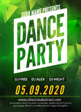 Dance Party Poster Template. Night Dance Party flyer. Club party design template on dark colorful background. DJ promotion Stock Photo