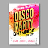 Dance Party Poster Template. Night Dance Party flyer. Club party design template with golden words Stock Images
