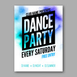 Dance Party Poster Template. Night Dance Party flyer. DJ session. Club party design template on dark colorful background. Dance party watercolor background vector illustration