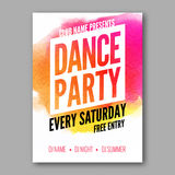 Dance Party Poster Template. Night Dance Party flyer. DJ session. Club party design template on dark colorful background Royalty Free Stock Photos