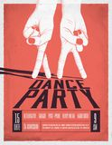 Dance Party Poster with two dancing hands. Vintage styled vector illustration. Flyer Template royalty free illustration