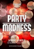 Dance party poster vector background template with particles, bokeh, highlights. Music event flyer or banner abstract.  Royalty Free Stock Photo