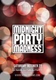 Dance party poster vector background template with particles, bokeh, highlights. Music event flyer or banner abstract.  Royalty Free Stock Images