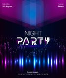 Dance party poster vector background template with triangles. And circles particles, lines, highlight and modern geometric shapes in pink and blue colors. Music Stock Photography