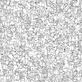 Dance party seamless pattern in black and white Royalty Free Stock Images