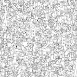 Dance party seamless pattern. With doodled youngsters having fun in black and white. Illustration is in eps8 vector mode, background on separate layer Stock Images