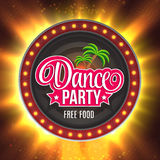 Dance Party Shining retro light banner.  Vector illustration EPS 10 Royalty Free Stock Photography