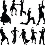 Dance people silhouette  Stock Image