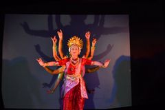 Dance performance dedicated to Hindu godess Durga Stock Photography