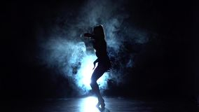 Dance performed by charming girl, backlit haze. Slow motion