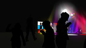Dance performers in a night club. Animation showing dance performers in a night club stock footage