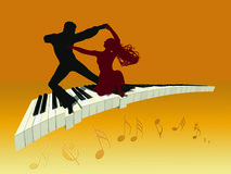 Dance on a piano Stock Photo