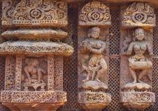 Dance platorm at Surya mandir, Konark. Decor elements. Stone carving, 13 century AD. Royalty Free Stock Image