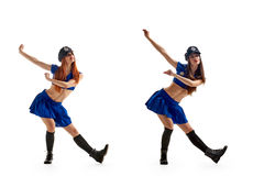 Dance in police uniform Royalty Free Stock Images