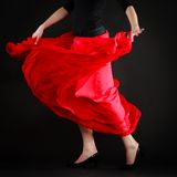 Dance. Red skirt on girl dancer dancing flamenco Royalty Free Stock Image
