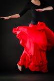 Dance. Red skirt on girl dancer dancing flamenco. Art. Red skirt of spanish girl woman perfomer dancer dancing flamenco traditional dance Stock Photo