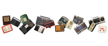 Dance retro recorders. Audio system, collage of music Stock Photo