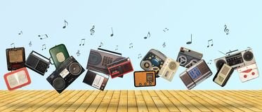 Dance retro recorders. Audio system, collage of music Stock Image