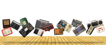 Dance retro recorders. Audio system, collage of music Royalty Free Stock Photo